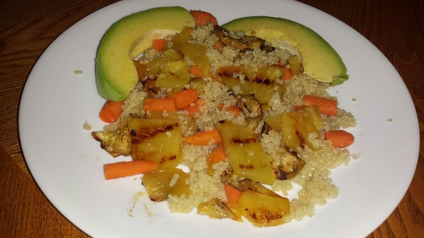 quinoa with pineapple and grilled eggplant